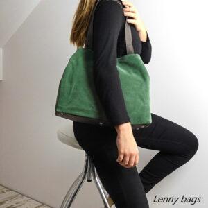 Dámská kožená kabelka, zelená