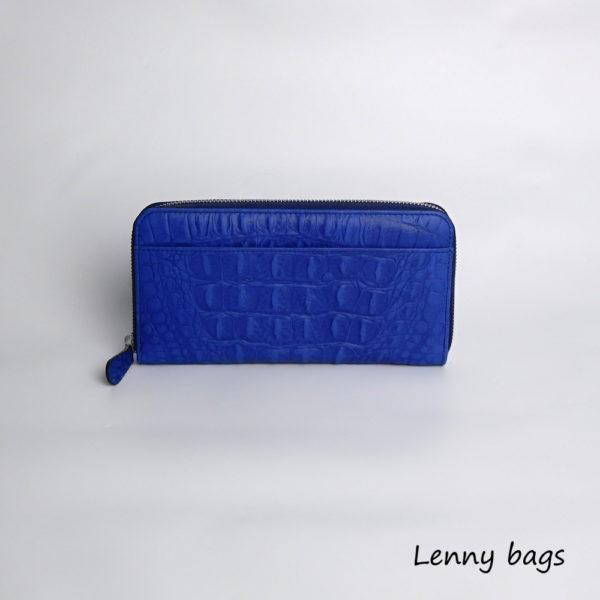 Kozena damska penezenka na zip. Modra vzor krokodyl.