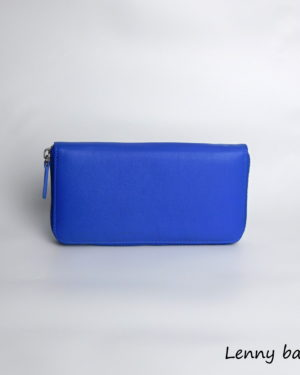Damska penezenka kozena na zip. Modra