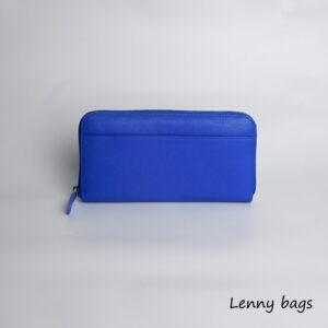 Damska kozena penezenka na zip. Modra