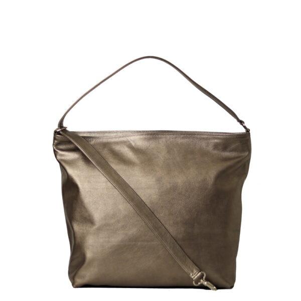 Kozena kabelka z metalicke kuze