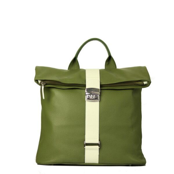 kozeny damsky batoh do mesta, zelena kůže